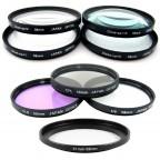 Kit para Nikon Coolpix: 7 Filtros P510 P520 (Uv, Cpl, Fld, +1 +2 +4 +10).