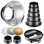 Kit Beauty Dish para Flash - Reflector Difusor Snoot Rejilla