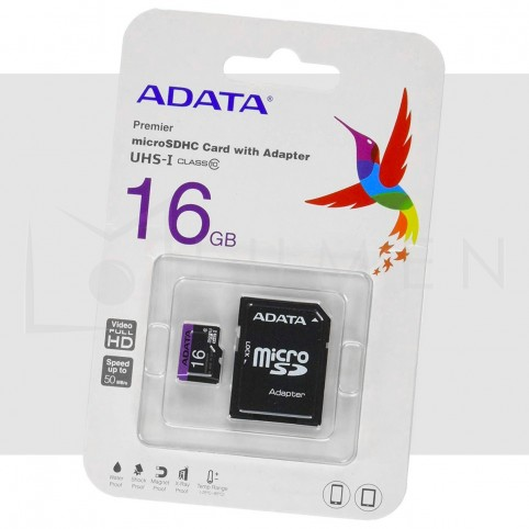 Memoria Micro SD 16GB Adata Clase 10 con Adaptador 50MB/s