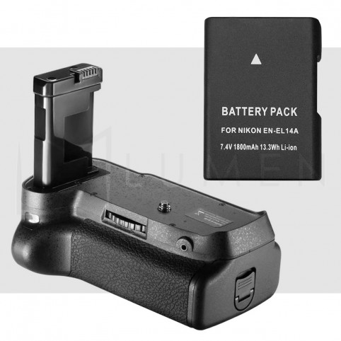 Kit Grip de batería + Bateria EN-EL14 para Nikon D3100 D3200 D3300