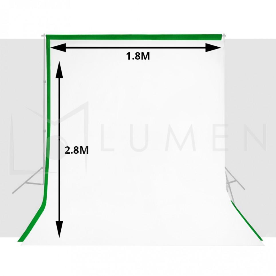 Kit 2 Telones para Fondo de Estudio Fotográfico Video 1.8m x 2.8 m Verde y Blanco.