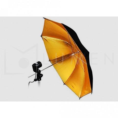 Sombrilla Dorada 132cm con Socket  Fotografía Video