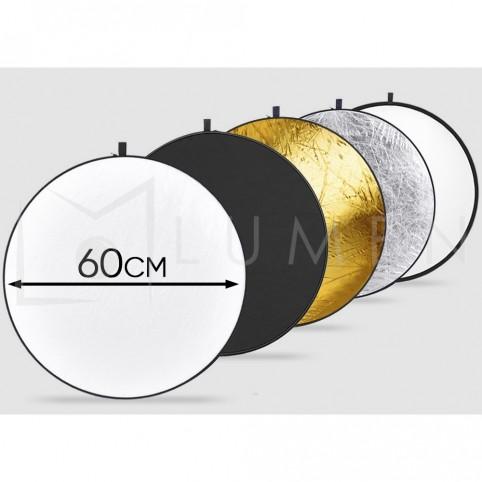 Reflector Portátil redondo (5 en 1) para estudio fotográfico 60 cm.