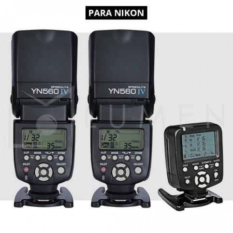 Kit Para NIKON Yongnuo 560tx + 560Iv x2 Flash Estudio Fotografía