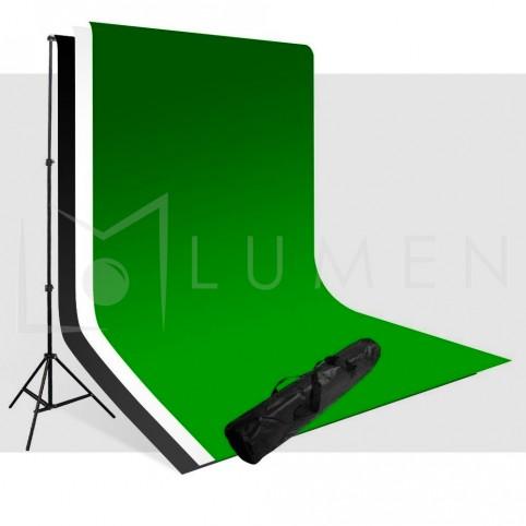 Kit Portafondos + 3 Telones 3x6m (Blanco, Negro, Verde) Para Estudio Fotográfico