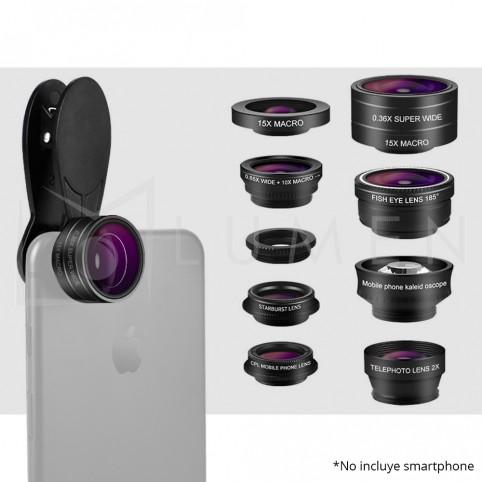 Kit Lentes 9 en 1 para Smartphone Iphone Samsung Motorola Huawei