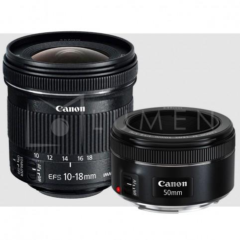 Kit de Lentes Retrato Canon 50mm f/1.8 y 10-18 f/4.5-5.6
