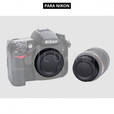 Tapa para Cuerpo y Lente (Trasera) para Cámaras Nikon.